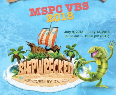 Vacation Bible School July 9-13, 2018
